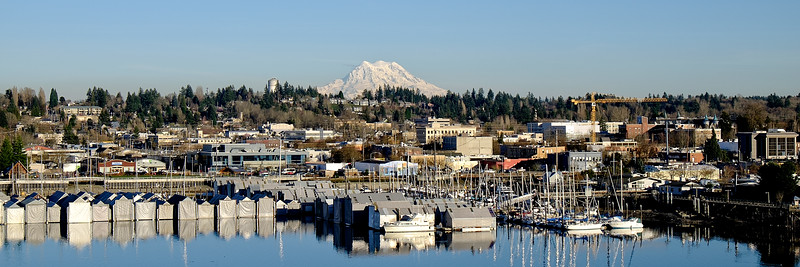 Downtown Olympia and Mount Rainier