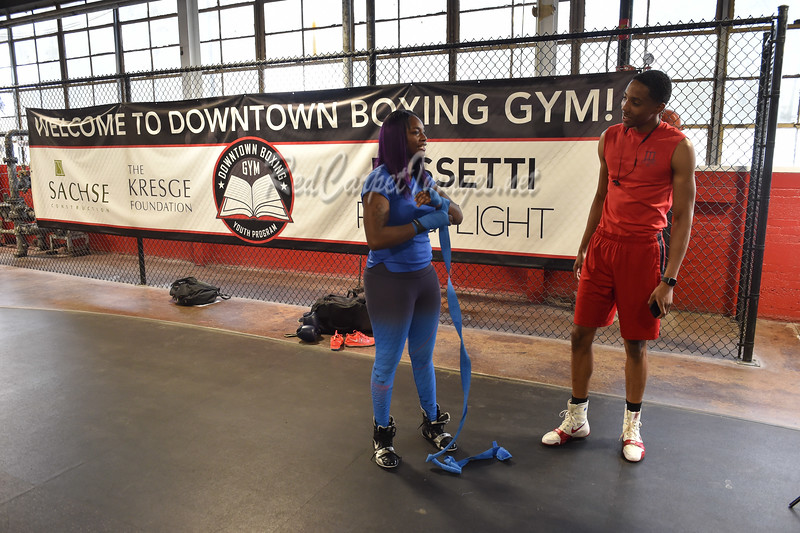 DETROIT, MI - MAY 9:  Olympic Boxing Gold Medalist Claressa Shields holds a promo event for her upcoming fight at The Downton Boxing Gym on Wednesday, May 9, 2018, in Detroit, MI, USA. (Photo by: Aaron J. / RedCarpetImages.net)