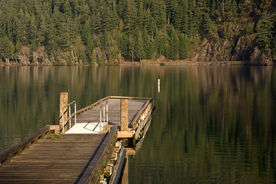 Boat dock on Lake Crescent at Storm King Ranger Station, near the trail head leading to Marymere Falls.