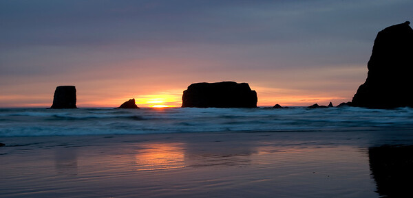 Sea stacks at sunset, Second Beach, La Push