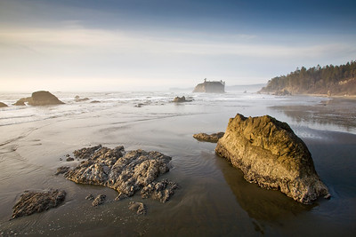 Sea stacks and low tide reflections, Ruby Beach