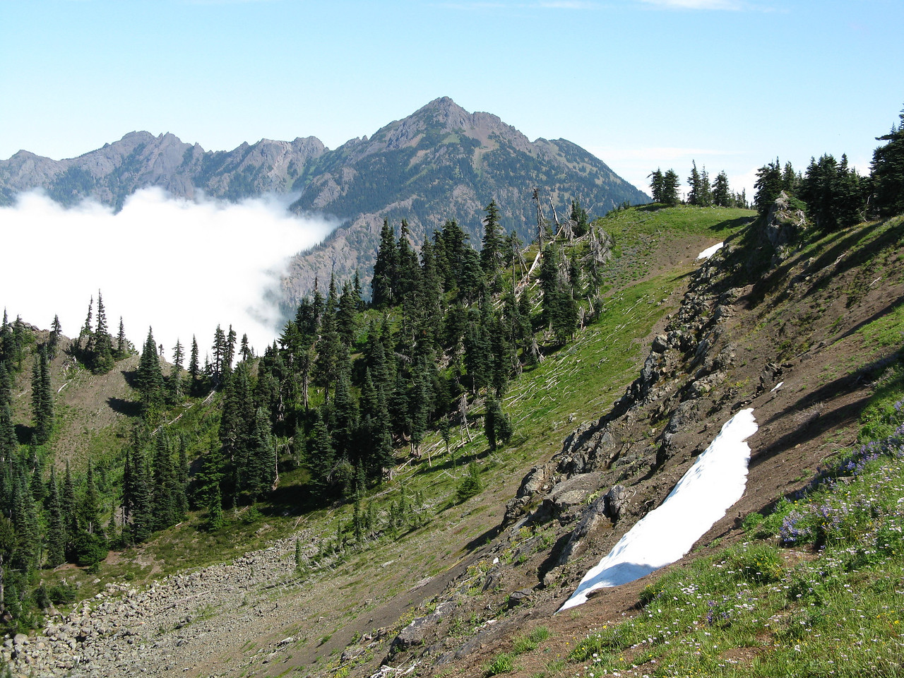 Looking east from the top.  Mount Angeles, 6454 feet, in the distance.