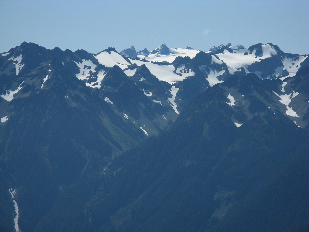 I can't name all the peaks and all the glaciers, but Mount Olympus is the one in the center.
