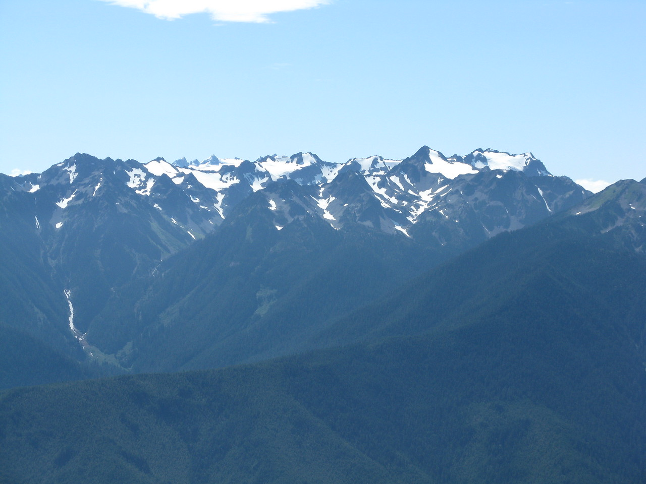 A telephoto view of the Olympic Mountains to the south.