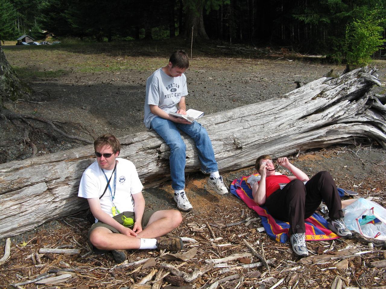After our earlier 10k to Sol Duc Falls, we took a rest on the beach.  (L to R) Nathan, Kevin and Mary.