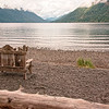 Well-used bench, Lake Crescent.