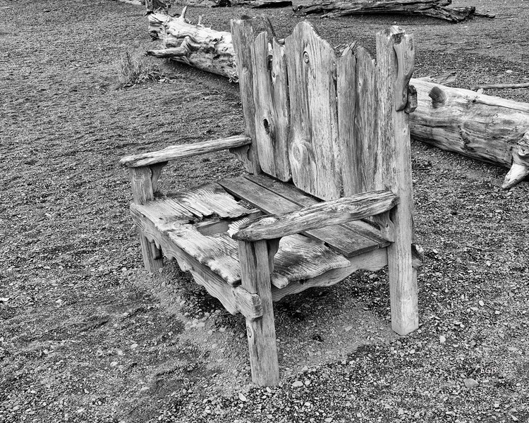 Well-used bench, 2, Lake Crescent.