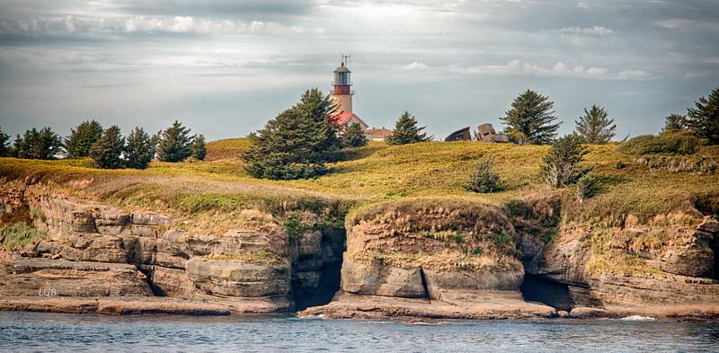 Detail view of Cape Flattery Lighthouse on Tatoosh Island.