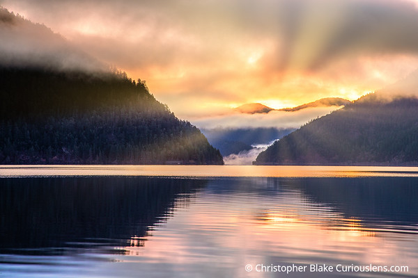 Lake Crescent  Sunrays at Dawn