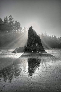 Golden Light Rock B&W
