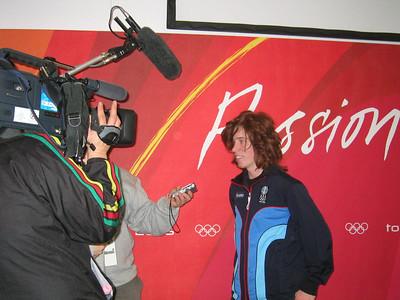 California's Shaun White records a TV interview