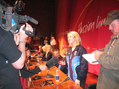 2002 Olympic silver medalist Shannon Bahrke answers questions from the media