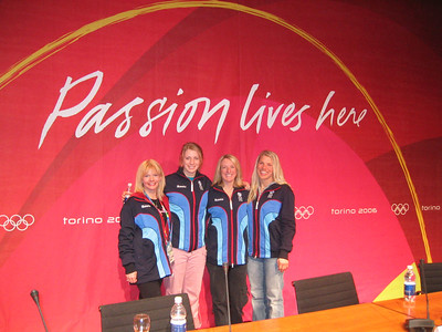 U.S. Olympic Moguls skiers at their arrival press conference (l to r) Michelle Roark, Hannah Kearney, Shannon Bahrke and Jillian Vogtli