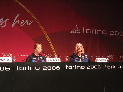 First time Olympian Hannah Kearney and 2002 Olympic silver medalist Shannon Bahrke at the arrival press conference