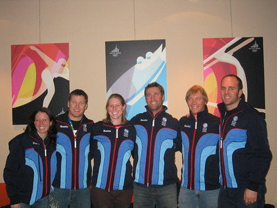 U.S. Olympic Aerials Team (l to r) EMilly Cook, Jeret Peterson, Jana Lindsey. Joe Pack, Ryan St. Onge and Eric Bergoust