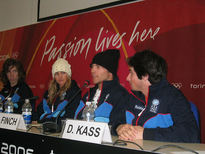U.S. Olympic Halfpipe riders answer questions from the media (l to r) Shaun White, Gretchen Bleiler, Andy Finch and Danny Kass