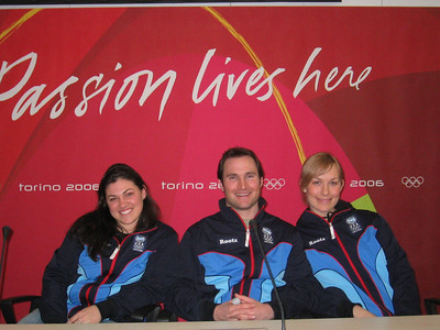 U.S. Olympic PGS riders (l to r) Michelle Gorgone, Tyler Jewell and Rosey Fletcher at the arrival press conference.