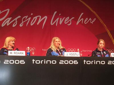 Women of the U.S. Olympic moguls squad (l to r) Michelle Roark, Jillian Vogtli and Hannah Kearney