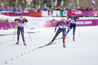 Jessie Diggins (left) and Sophie Caldwell 2014 Olympic Winter Games - Sochi, Russia. Women's skate sprint Photo: Sarah Brunson/U.S. Ski Team
