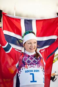 Gold medalist, Maiken Caspersen Falla, Norway 2014 Olympic Winter Games - Sochi, Russia. Women's skate sprint Photo: Sarah Brunson/U.S. Ski Team