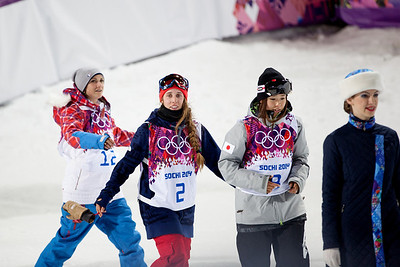 Marie Martinod, Maddie Bowman and Ayana Onozuka 2014 Olympic Winter Games - Sochi, Russia. Women's halfpipe skiing Photo: Sarah Brunson/U.S. Ski Team