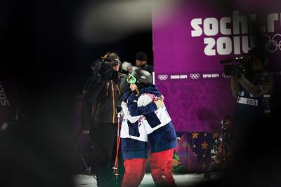 Maddie Bowman and Brita Sigourney 2014 Olympic Winter Games - Sochi, Russia. Women's halfpipe skiing Photo: Sarah Brunson/U.S. Ski Team