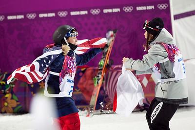 Maddie Bowman and Ayana Onozuka 2014 Olympic Winter Games - Sochi, Russia. Women's halfpipe skiing Photo: Sarah Brunson/U.S. Ski Team