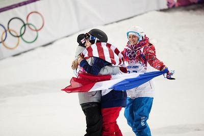 Maddie Bowman, Ayana Onozuka and Marie Martinod 2014 Olympic Winter Games - Sochi, Russia. Women's halfpipe skiing Photo: Sarah Brunson/U.S. Ski Team