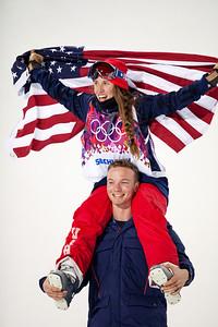 David Wise and Maddie Bowman 2014 Olympic Winter Games - Sochi, Russia. Women's halfpipe skiing Photo: Sarah Brunson/U.S. Ski Team