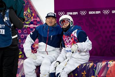 Bradley WIlson with coach Scott Rawles 2014 Olympic Winter Games - Sochi, Russia. Men's moguls Photo: Sarah Brunson/U.S. Ski Team