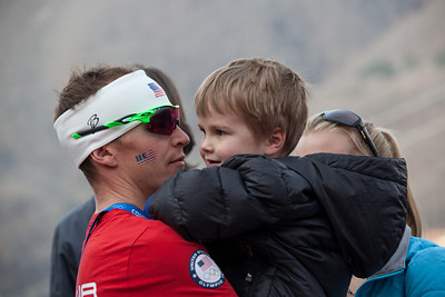 Billy Demong with his son. 2014 Olympic Winter Games - Sochi, Russia. Nordic Combined Team event Photo: Sarah Brunson/U.S. Ski Team