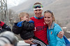 Billy Demong with his son and wife.<br /> 2014 Olympic Winter Games - Sochi, Russia.<br /> Nordic Combined Team event<br /> Photo: Sarah Brunson/U.S. Ski Team