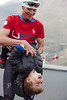 Billy Demong with his son.<br /> 2014 Olympic Winter Games - Sochi, Russia.<br /> Nordic Combined Team event<br /> Photo: Sarah Brunson/U.S. Ski Team