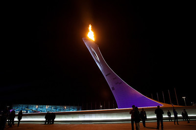 The Olympic Flame in the center of the Olympic Village 2014 Olympic Winter Games - Sochi, Russia. Photo: Sarah Brunson/USSA