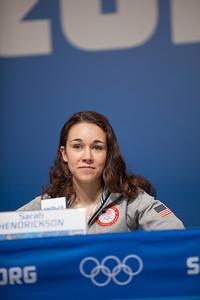 Sarah Hendrickson 2014 Olympic Winter Games - Sochi, Russia. Women's ski jumping press conference Photo: Sarah Brunson/U.S. Ski Team