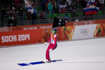 Sarah Hendrickson 2014 Olympic Winter Games - Sochi, Russia. Historic first Olympic Women's Ski Jumping competition debut. Photo: Sarah Brunson/U.S. Ski Team
