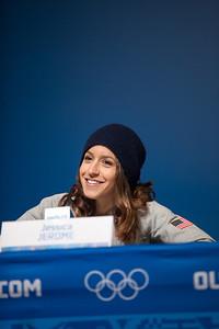 Jessica Jerome 2014 Olympic Winter Games - Sochi, Russia. Women's ski jumping press conference Photo: Sarah Brunson/U.S. Ski Team