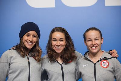 (l-r) Jessica Jerome, Sarah Hendrickson, Lindsey Van 2014 Olympic Winter Games - Sochi, Russia. Women's ski jumping press conference Photo: Sarah Brunson/U.S. Ski Team
