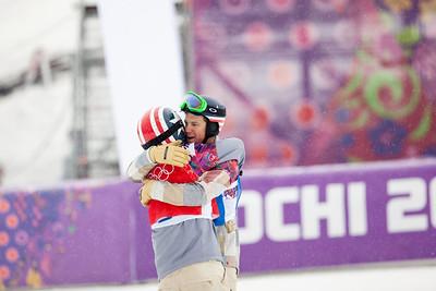 Alex Diebold and Trevor Jacob 2014 Olympic Winter Games - Sochi, Russia. Men's Snowboardcross Photo: Sarah Brunson/U.S. Snowboarding