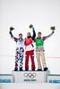 Silver medalist, Nikolay Olyunin, RUS, gold medalist, Pierre Vaultier, FRA, bronze medalist, Alex Diebold, USA<br /> 2014 Olympic Winter Games - Sochi, Russia.<br /> Men's Snowboardcross<br /> Photo: Sarah Brunson/U.S. Snowboarding