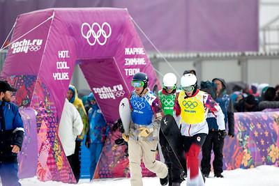 Alex Diebold, USA (blue bib), Kevin Hill, CA (yellow bib) 2014 Olympic Winter Games - Sochi, Russia. Men's Snowboardcross Photo: Sarah Brunson/U.S. Snowboarding
