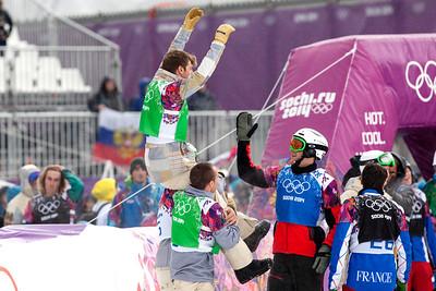 Alex Diebold and teammates and fellow competitors celebrate Alex's bronze medal finish 2014 Olympic Winter Games - Sochi, Russia. Men's Snowboardcross Photo: Sarah Brunson/U.S. Snowboarding
