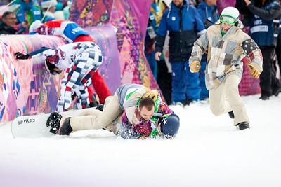 Alex Deibold and teammates celebrate Alex's bronze medal finish 2014 Olympic Winter Games - Sochi, Russia. Men's Snowboardcross Photo: Sarah Brunson/U.S. Snowboarding