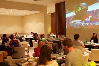 Athletes eating dinner at the Team hotel. Food prepared by USSA Chef Allen Tran. Photo: Kyle Kilcomons/USSA