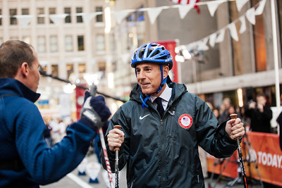 Billy Demong with Matt Lauer 100 Days Out from the 2014 Winter Olympic Games in Sochi TODAY Show, New York City Photo: Sarah Brunson/USSA