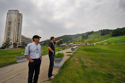 Checking out the 2018 Olympic freestyle, freeskiing and snowboarding venue at Phoenix Park in South Korea - USSA President and CEO Bill Marolt and Executive Vice President, Athletics Luke Bodensteiner. (USSA/Tom Kelly)