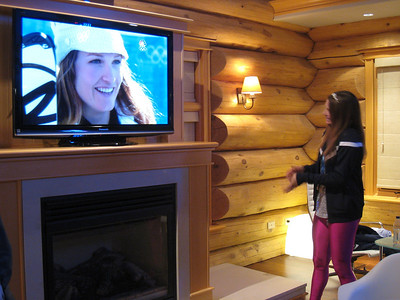 Julia Mancuso checks out NBC's coverage of the women's super combined in the USA House at Whistler (Doug Haney/U.S. Ski Team)