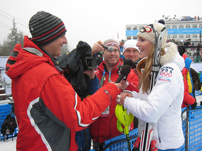 Lindsey Vonn interviews with journalists following the women's slalom, her final event of the Olympics (Doug Haney/U.S. Ski Team)