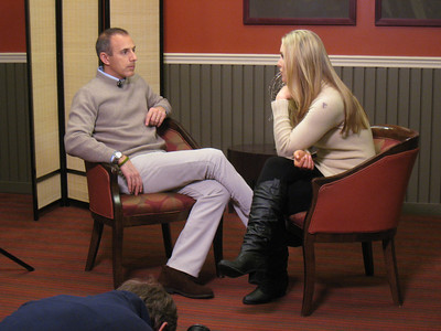 Behind the scenes with Lindsey Vonn and her TODAY Show interview with NBC's Matt Lauer where she revealed a painful shin injury (Doug Haney/U.S. Ski Team)