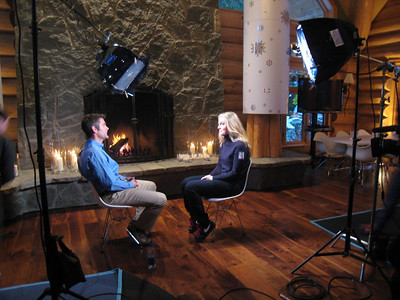 Behind the scenes with Lindsey Vonn and NBC's Steve Porino prior to her Opening Ceremonies interview at the USA House in Whistler (Doug Haney/U.S. Ski Team)